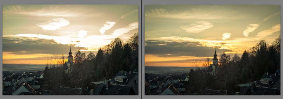 Links siehst Du ein Motiv, das im JPG-Format aufgenommen wurde, rechts eins mit den selben Einstellungen im RAW-Format. Der Versuch, in der Nachbearbeitung die ausgefressenen Lichter am Himmel zu korrigieren, ist beim RAW-Format wesentlich besser geglückt. Viele Details am Himmel konnten im rechten Foto wiederhergestellt werden.